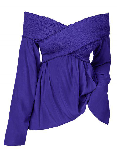 Off The Shoulder Smocked Plus Size Top - COBALT BLUE L