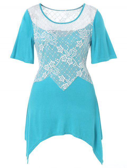 a309eea92a9e63 LIMITED OFFER  2019 Plus Size Floral Lace Panel Asymmetrical T-shirt ...