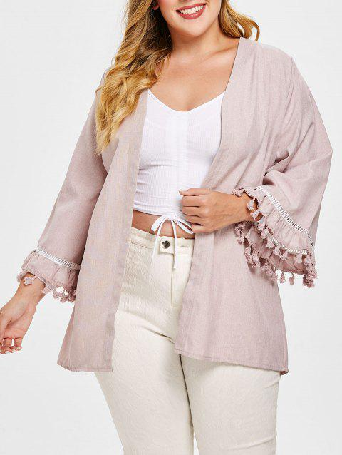 Open Front Tassel Long Sleeve Plus Size Coat - PIG PINK 3X