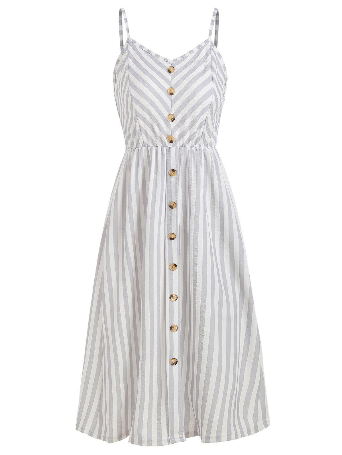 Button High Waist Striped Dress - LIGHT GRAY 2XL