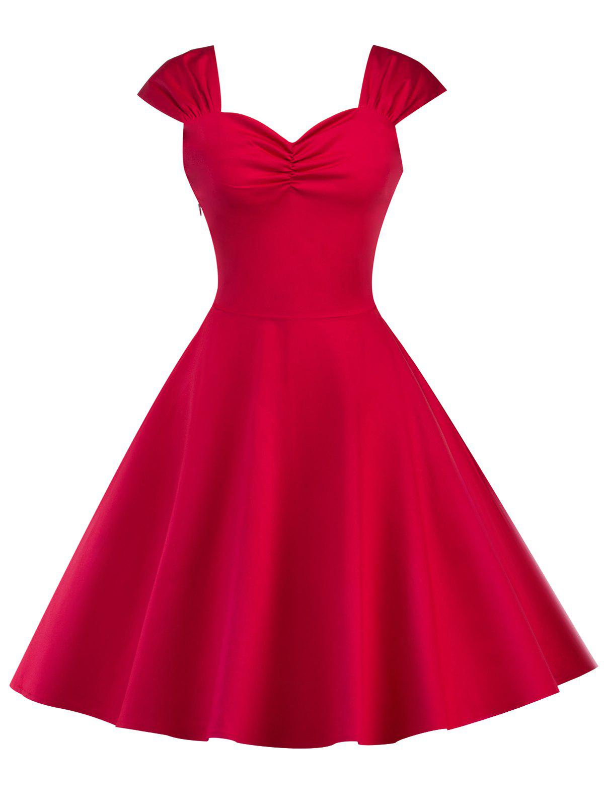 Vintage High Waist Sleeveless Flare Dress - RED M