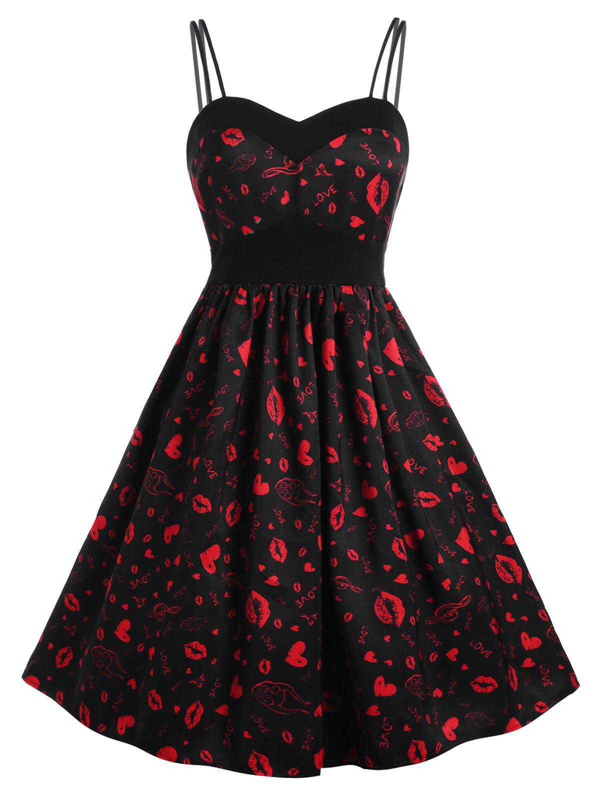 High Waist Spaghetti Strap Lips Print Dress - RED S