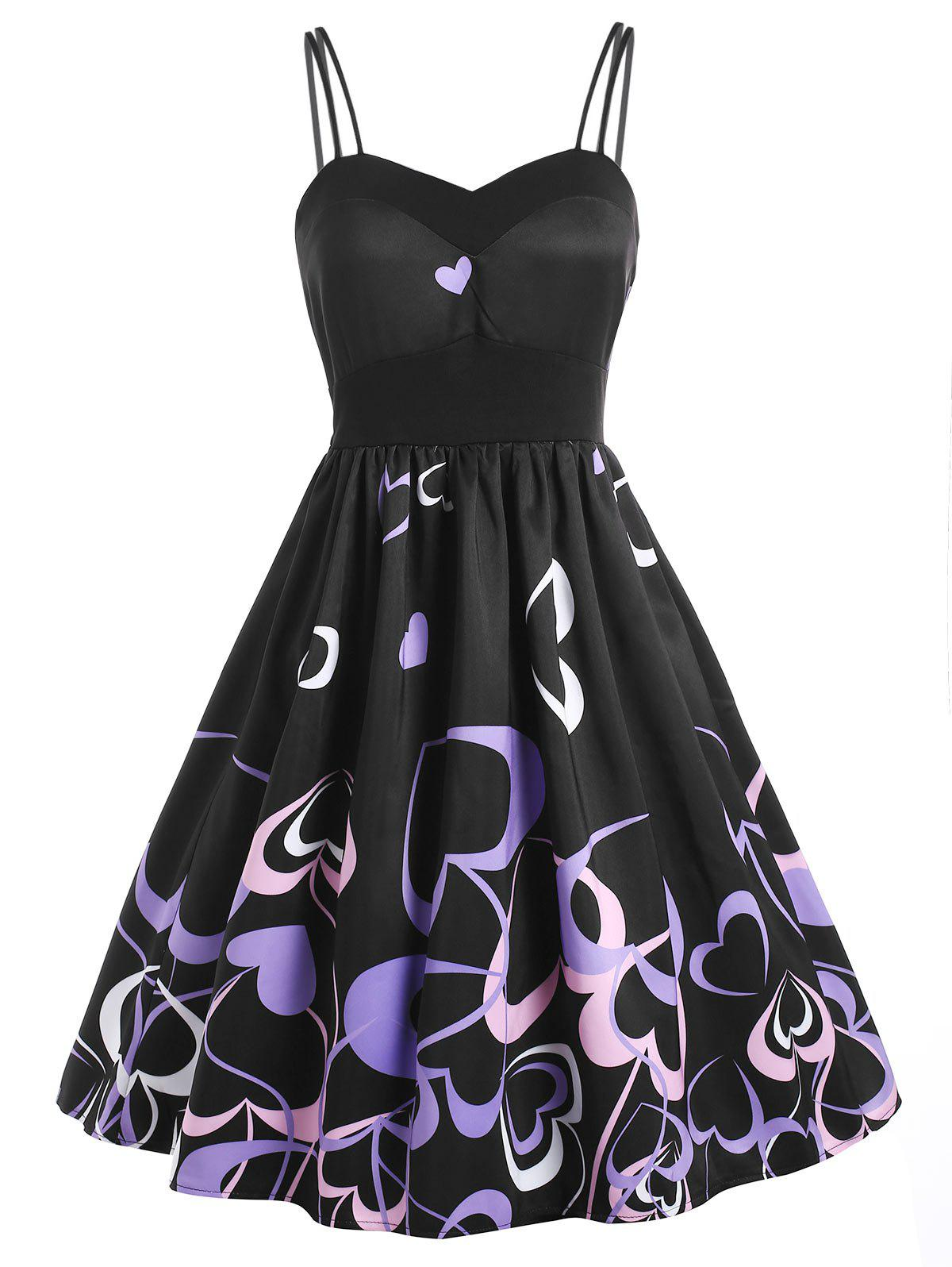 High Waist Heart Print Flare Dress - BLACK M
