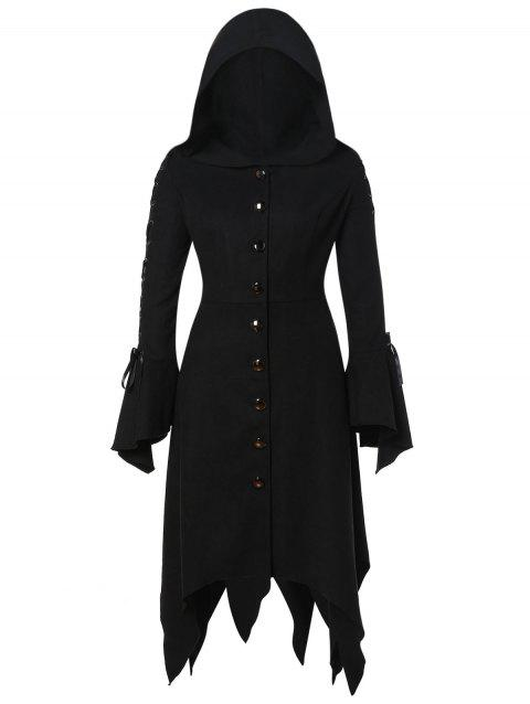 Plus Size Hooded Lace Up Handkerchief Coat - BLACK 2X