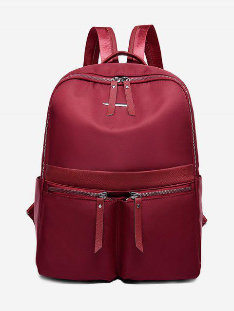 Nylon Double Pocket Backpack - RED WINE