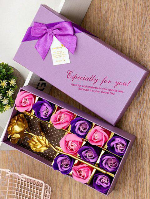 Valentines Day Artificial Rose Flowers In A Box - MEDIUM PURPLE