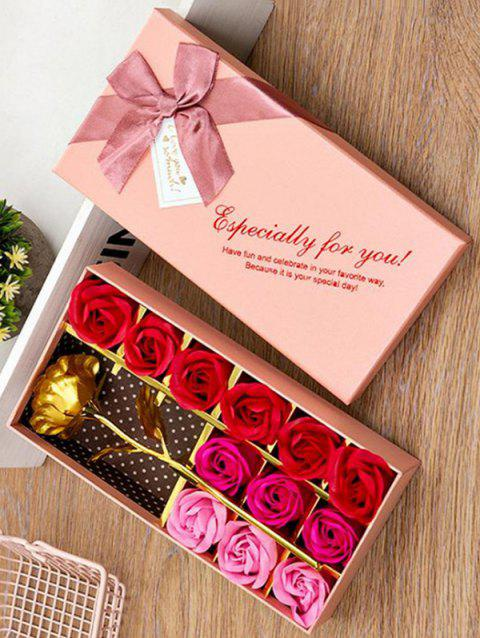 Valentines Day Artificial Rose Flowers In A Box - PIG PINK