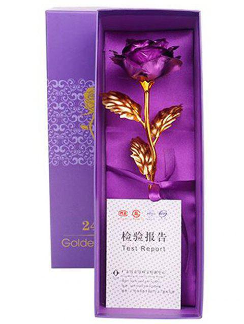 Valentines Day Gift Artificial Plated Rose Flower In A Box - PURPLE IRIS