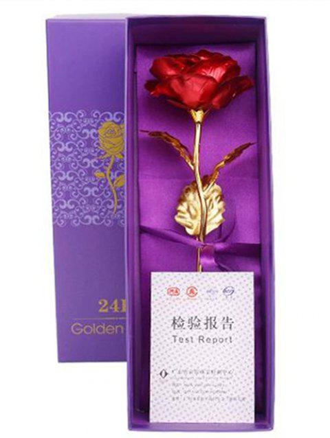 Valentines Day Gift Artificial Plated Rose Flower In A Box - RED
