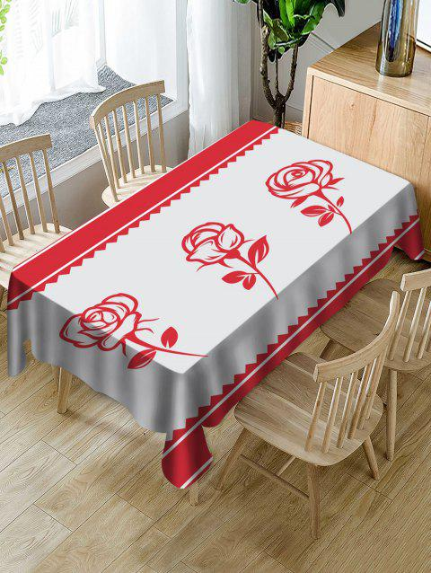 Nappe de Table Imperméable Motif Roses pour la Saint-Valentin - multicolor W54 X L54 INCH