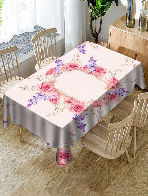 Valentines Day Flowers Print Fabric Waterproof Tablecloth - multicolor W54 X L54 INCH