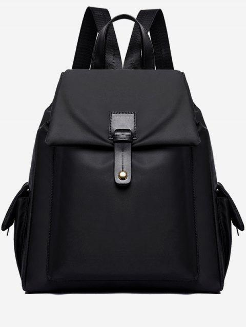 Nylon Oxford Cloth Double Pockets Backpack - BLACK