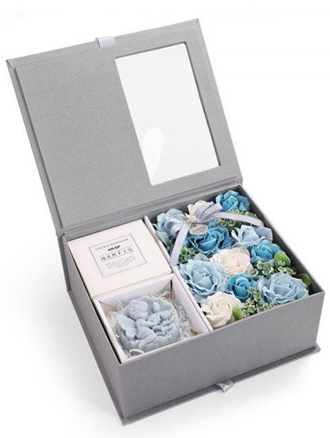 Valentines Day 11 Pcs Soap Rose Flowers and Soap In A Box - CRYSTAL BLUE