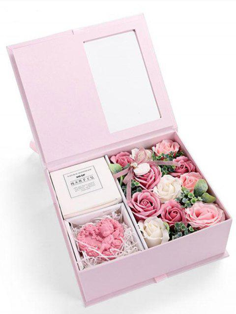 Valentines Day 11 Pcs Soap Rose Flowers and Soap In A Box - PINK