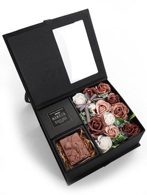 Valentines Day 11 Pcs Soap Rose Flowers and Soap In A Box - SEPIA