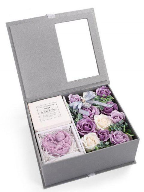 Valentines Day 11 Pcs Soap Rose Flowers and Soap In A Box - PURPLE MIMOSA