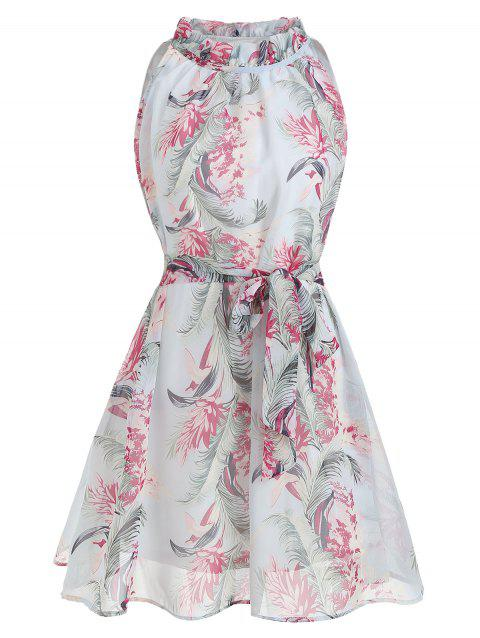 Belted Sleeveless Floral Print Dress - multicolor S