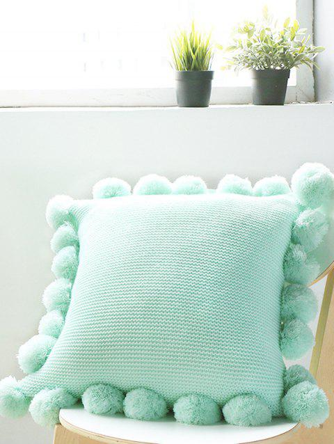 Tassel Ball Embellished Pillow Cover - MINT GREEN