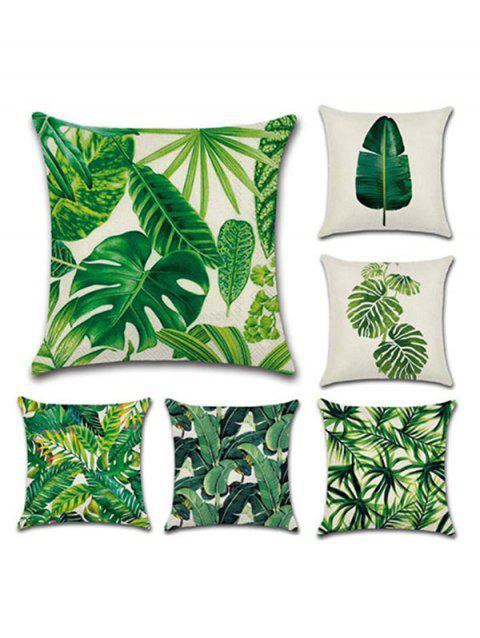 6PCS Leaf Printed Pillow Cover - PINE GREEN W18 X L18 INCH
