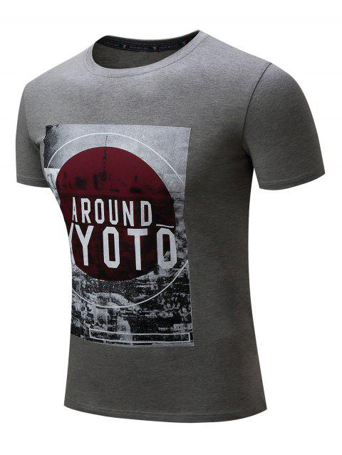 Casual Graphic Print Short Sleeve T-shirt - GRAY XL
