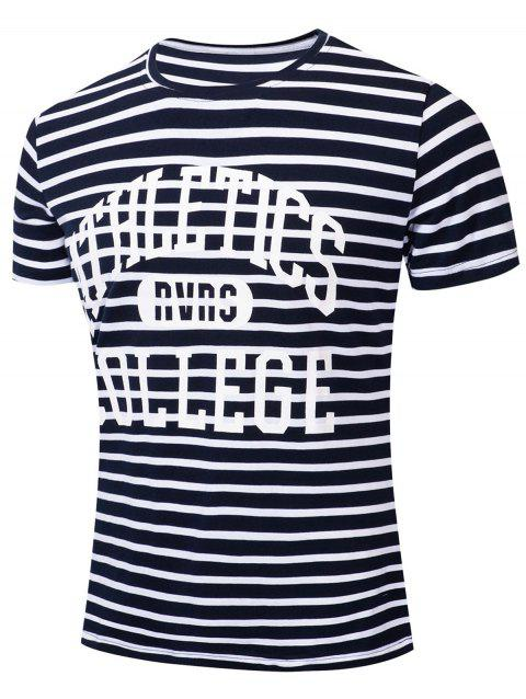 Casual Letter Striped Printed Short Sleeve T-shirt - DEEP BLUE XL