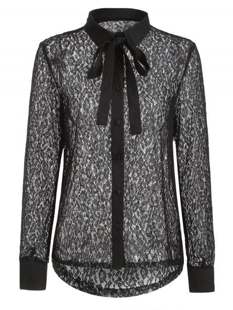 Button Up Lace Shirt - BLACK L