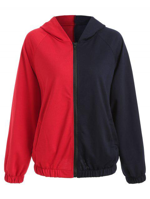 Zip Up Contrasted Hoodie - RED S