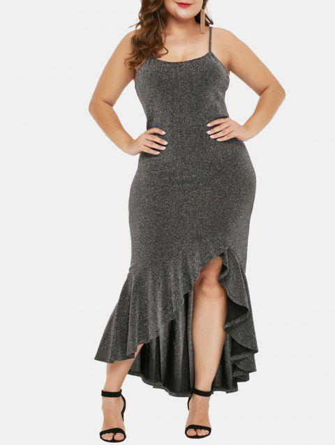 Plus Size Ruffle Hem Glitter Dress - SILVER 5X