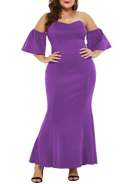 Plus Size Short Sleeve Off The Shoulder Mermaid Dress - PURPLE 3X
