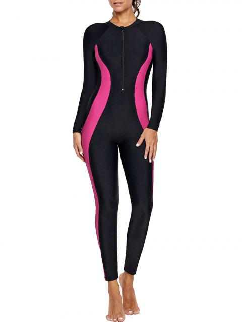 Contrast Color Long Sleeve Swimsuit - BLACK S