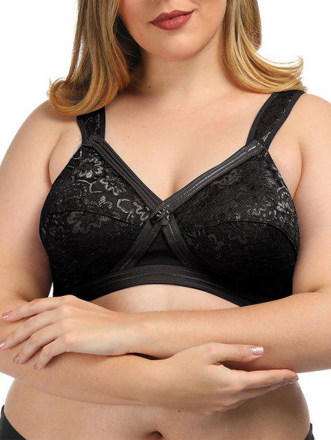 Plus Size Sheer Lace Panel Bra - NIGHT 105E