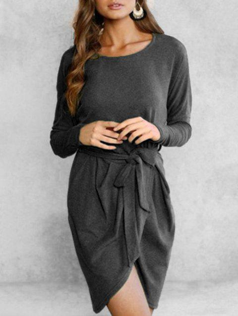 Long Sleeve Overlap Solid Dress - BLACK M