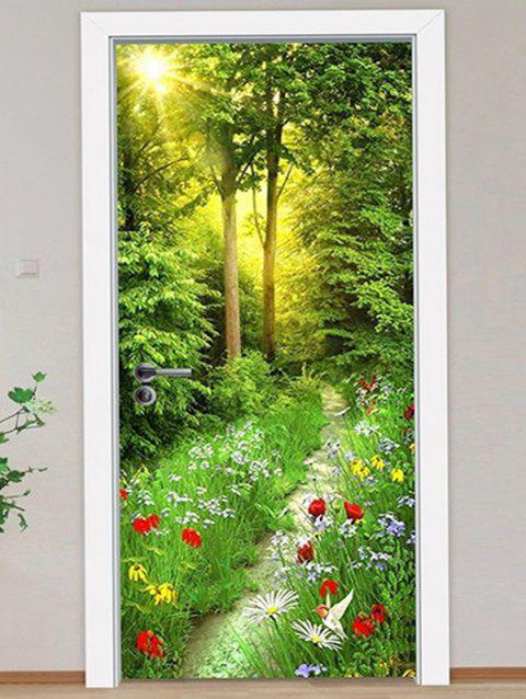 3D Sunshine Forest Pattern Door Art Stickers - multicolor 2PCS X 15 X 79 INCH