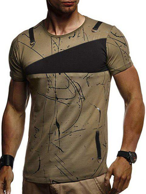 Short Sleeves Lines Panel Casual T Shirt - HAZEL GREEN M