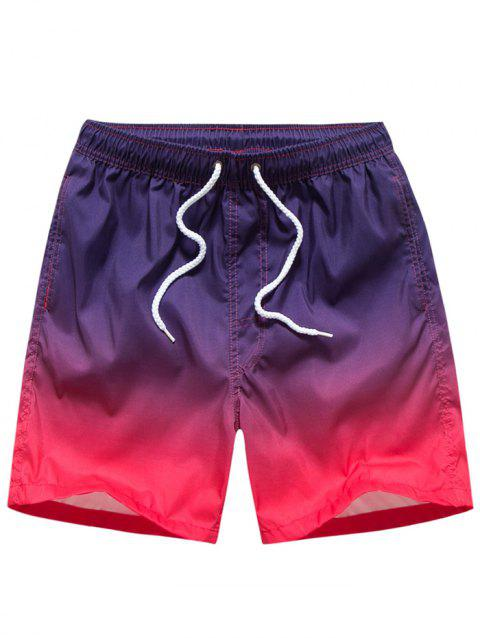 Ombre Print Casual Beach Shorts - PURPLE M