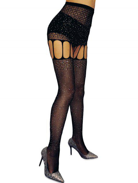 Rhinestone Cut Out Fishnet Lingerie Tights - BLACK ONE SIZE