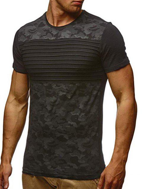 Stripes Camouflage Print Short Sleeves Casual T-shirt - BLACK L