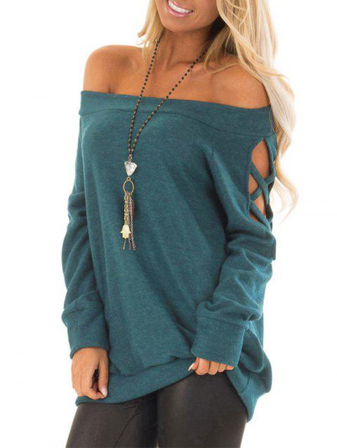 Cut Out Long Sleeve Solid Top - BLUE XL