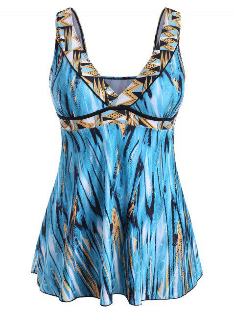 Plus Size Wrap Printed Tankini Set - CELESTE 1X