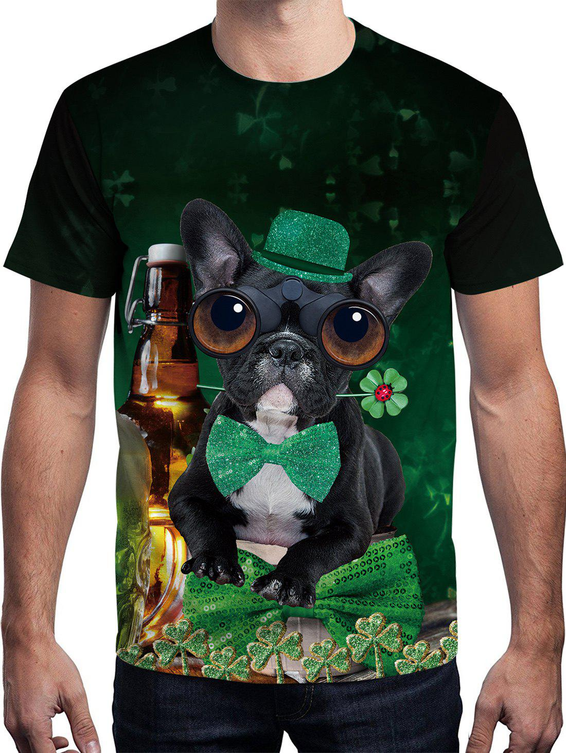 3D Dog Printed Short Sleeve T-shirt - multicolor J S
