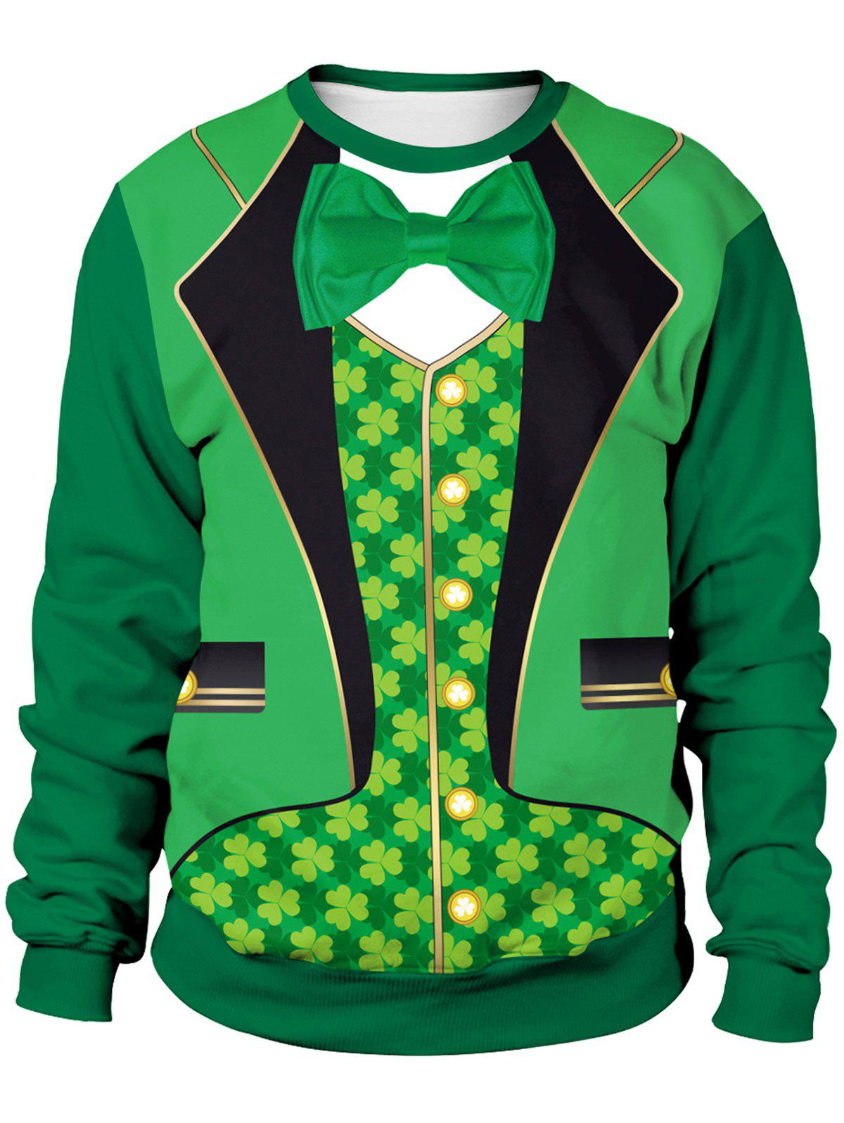 3D Four-leaf Clover Printed Pullover Sweatshirt - MEDIUM FOREST GREEN L