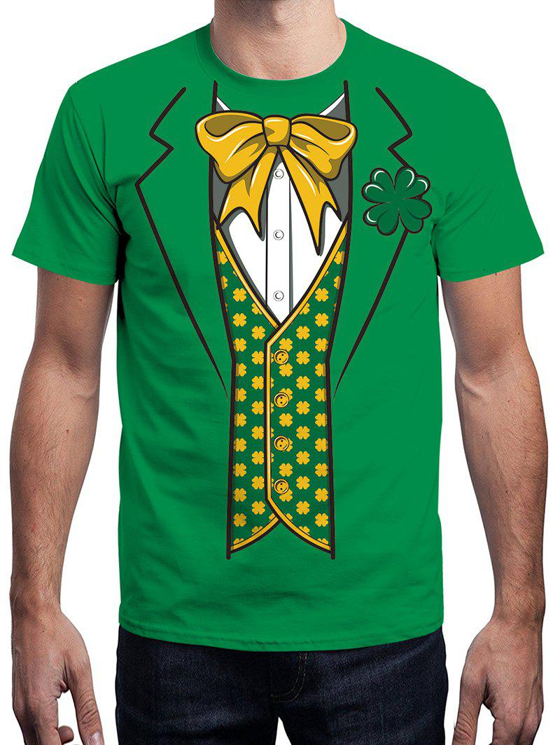 3D Bowknot Printed Short Sleeve Tee - MEDIUM SPRING GREEN M