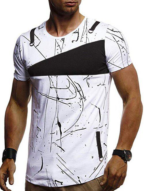 Short Sleeves Lines Panel Casual T Shirt - WHITE 2XL