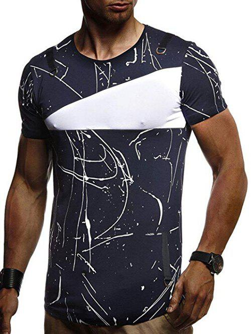 Short Sleeves Lines Panel Casual T Shirt - MIDNIGHT BLUE M