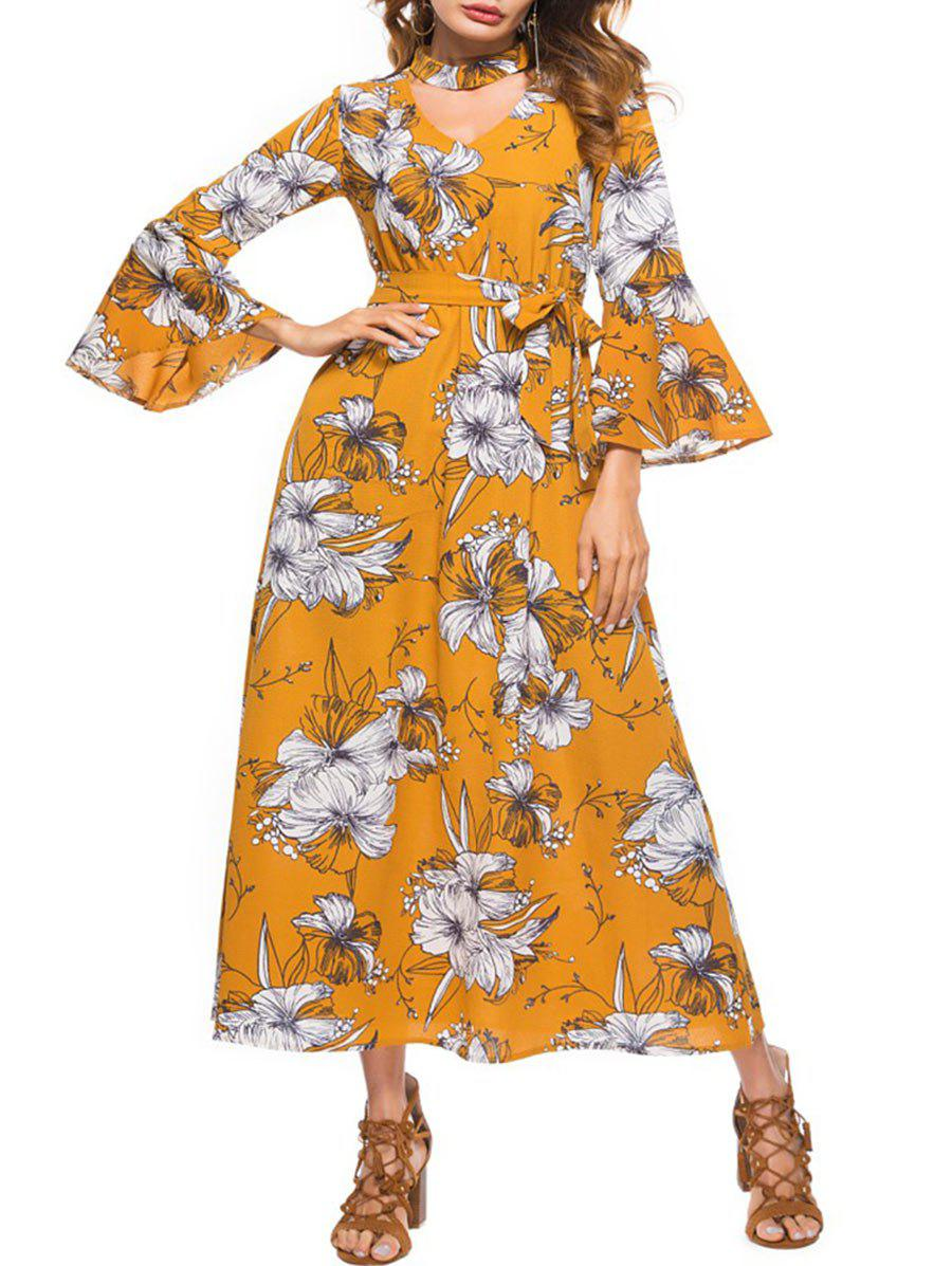 Belted Long Sleeve Floral Print Dress - YELLOW S