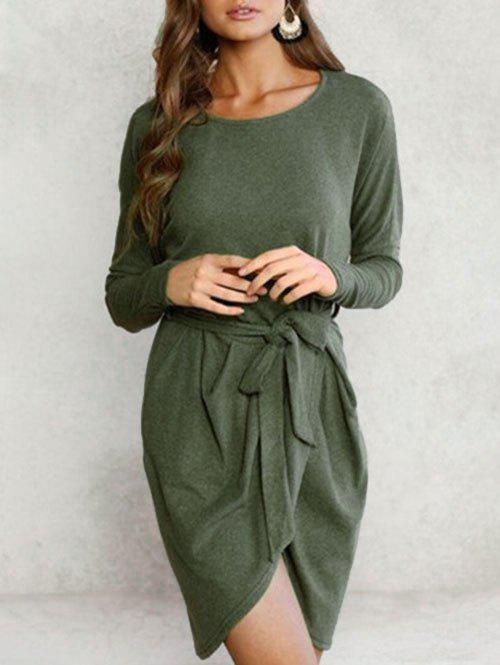 Long Sleeve Overlap Solid Dress - ARMY GREEN M