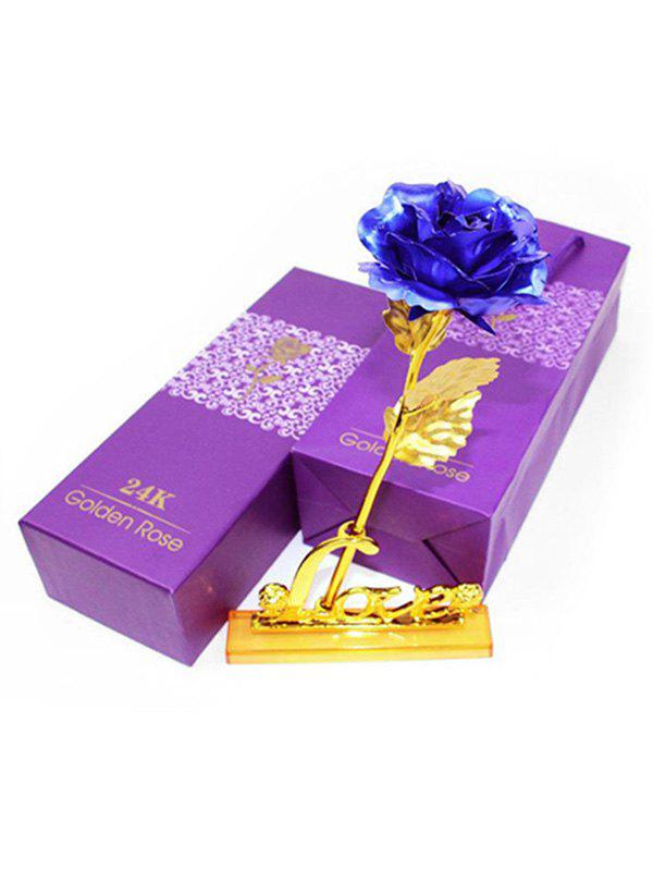 Plated Artificial Rose Flower and Holder In A Box - COBALT BLUE