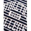 Casual Letter Striped Printed Short Sleeve T-shirt - DEEP BLUE L