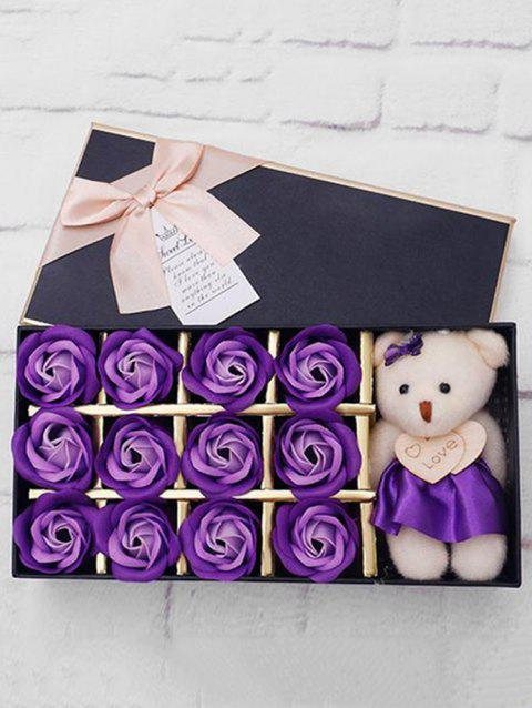 12 Pcs Valentines Day Gift Soap Rose Flowers In A Box - PURPLE IRIS