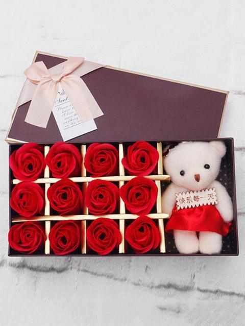 12 Pcs Valentines Day Gift Soap Rose Flowers In A Box - RED